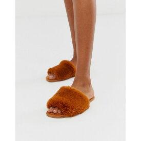 エイソス ASOS DESIGN レディース シューズ・靴 スリッパ【Zen borg fur slippers in conker brown】Brown teddy