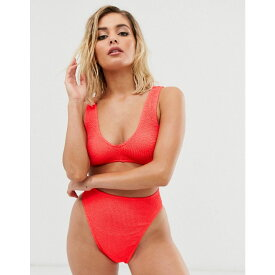 エイソス ASOS DESIGN レディース 水着・ビーチウェア トップのみ【mix and match crinkle v front crop bikini top in shiny red】Shiny red