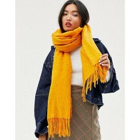 エイソス ASOS DESIGN レディース マフラー・スカーフ・ストール【long neppy woven scarf with tassels in orange】Orange