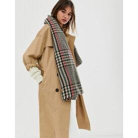 エイソス ASOS DESIGN レディース マフラー・スカーフ・ストール【oversized square scarf in 70s tweed】Brown