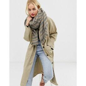エイソス ASOS DESIGN レディース マフラー・スカーフ・ストール【oversized square tweed scarf】Brown