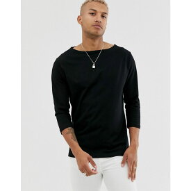エイソス ASOS DESIGN メンズ トップス 長袖Tシャツ【relaxed 3/4 sleeve t-shirt with boat neck in black】Black