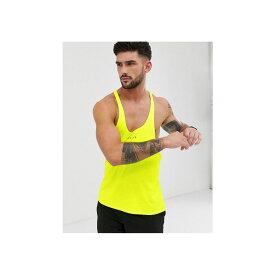 エイソス ASOS 4505 メンズ フィットネス・トレーニング トップス【training stringer vest with racer back in neon yellow】Neon yellow