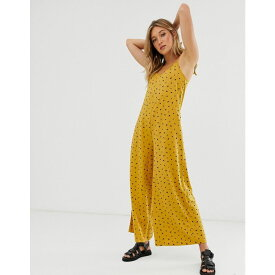 エイソス ASOS DESIGN レディース ワンピース・ドレス オールインワン【minimal jumpsuit with tie back in linen look in yellow ditsy print】Yellow ditsy