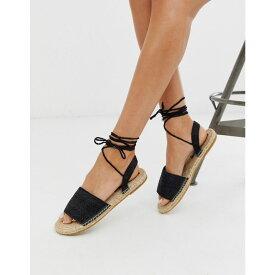 エイソス ASOS DESIGN レディース シューズ・靴 エスパドリーユ【Josy woven espadrille flat sandals in black】Black