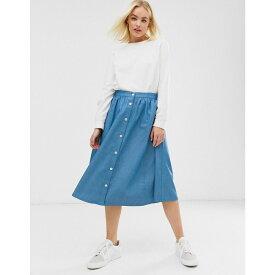 ミニマム Minimum レディース スカート ひざ丈スカート【Moves by button denim midi skirt】Mid light blue