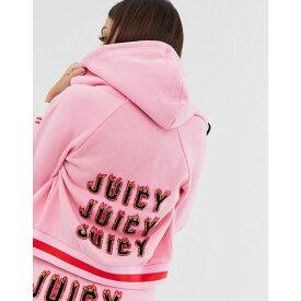 ジューシークチュール Juicy Couture レディース トップス パーカー【Black Label flames logo cropped hoodie】Pink lemonade