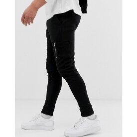 エイソス ASOS DESIGN メンズ ボトムス・パンツ ジョガーパンツ【skinny joggers with MA1 pocket in black】Black