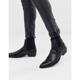 エイソス ASOS DESIGN メンズ シューズ・靴 ブーツ【cuban heel western chelsea boots in black faux leather】Black