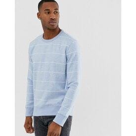 フレンチコネクション French Connection メンズ トップス スウェット・トレーナー【striped crew neck sweatshirt】Blue