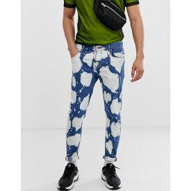 エイソス ASOS DESIGN メンズ ボトムス・パンツ ジーンズ・デニム【skinny jeans in bleach print】Blue acid