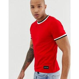 カルバンクライン Calvin Klein メンズ トップス Tシャツ【pique tipped ringer crew neck t-shirt in red】Fiery red