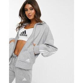アディダス adidas レディース パーカー トップス【Training three stripe hoodie in grey】Medium grey heather/
