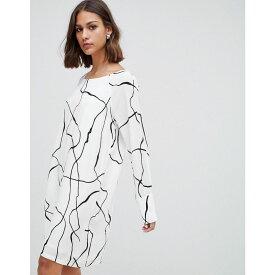 ミニマム Minimum レディース ワンピース シフトドレス ワンピース・ドレス【graphic print shift dress】Broken white