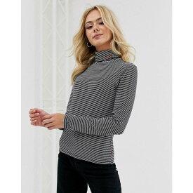 リーバイス Levi's レディース Tシャツ トップス【stripe turtleneck with logo】Logo knit cascade st