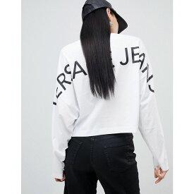 ヴェルサーチ Versace Jeans レディース トップス 【batwing long sleeve top with back logo】White