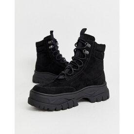 エイソス ASOS DESIGN メンズ ブーツ レースアップブーツ シューズ・靴【lace up boot in black faux nubuck with chunky sole】Black