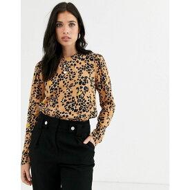 ウェアハウス Warehouse レディース トップス 【top with puff sleeve in floral leopard print】Tan