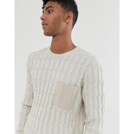 エイソス ASOS DESIGN メンズ ニット・セーター トップス【cable knit jumper with woven pocket in oatmeal】Oatmeal