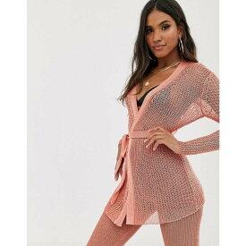 ソレリ Sorelle レディース カーディガン ワイドパンツ ロング丈 トップス【UK knitted shimmer tie front longline cardi and wide leg trouser co-ord in pink】Pink