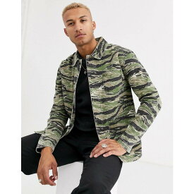 エイソス ASOS DESIGN メンズ ジャケット Gジャン ワークジャケット アウター【denim worker jacket in camo print】Green
