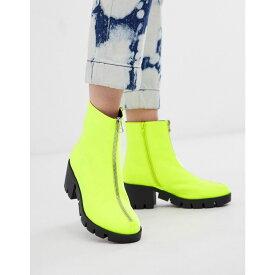 エイソス ASOS DESIGN レディース ブーツ ショートブーツ チャンキーヒール シューズ・靴【Rebel chunky zip ankle boots in neon yellow】Neon yellow