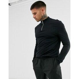 エイソス ASOS DESIGN メンズ 長袖Tシャツ タートルネック トップス【organic long sleeve t-shirt with zip turtle neck in black】Black