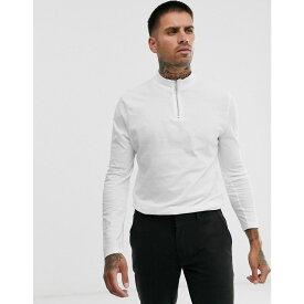 エイソス ASOS DESIGN メンズ 長袖Tシャツ タートルネック トップス【organic long sleeve t-shirt with zip turtle neck in white】White