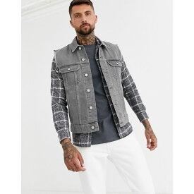 エイソス ASOS DESIGN メンズ ジャケット Gジャン アウター【sleeveless denim jacket in grey】Grey