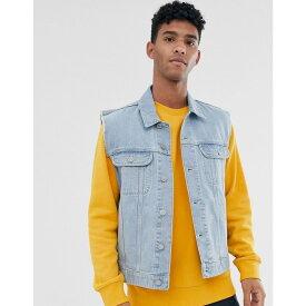エイソス ASOS DESIGN メンズ ジャケット Gジャン アウター【sleeveless denim jacket in bleach wash blue】Bleach