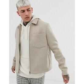 エイソス ASOS DESIGN メンズ ジャケット アウター【zip through jacket in beige】Beige