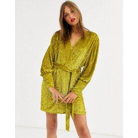 エイソス ASOS EDITION レディース ワンピース ラップドレス ミニ丈 ワンピース・ドレス【sequin wrap mini dress】Yellow
