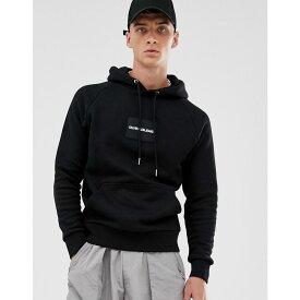 カルバンクライン Calvin Klein Jeans メンズ パーカー トップス【overhead hoodie in black/white with small chest logo】Ck black/whi