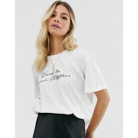 デイジーストリート Daisy Street レディース Tシャツ トップス【relaxed t-shirt with word to your mother graphic in organic cotton】White