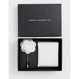 フレンチコネクション French Connection メンズ ラペルピン 【plain pocket square & lapel pin set】White