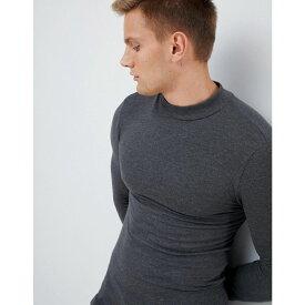 エイソス ASOS DESIGN メンズ 長袖Tシャツ タートルネック トップス【muscle fit long sleeve turtle neck t-shirt in charcoal marl】Charcoal marl