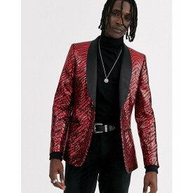 エイソス ASOS DESIGN メンズ スーツ・ジャケット アウター【skinny blazer in sequin overlay in black and red】Black