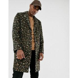 エイソス ASOS DESIGN メンズ コート アウター【wool mix overcoat in leopard print】Black