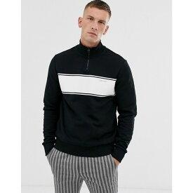 カルバンクライン Calvin Klein メンズ スウェット・トレーナー トップス【half zip sweatshirt with chest stripe in black】Calvin black