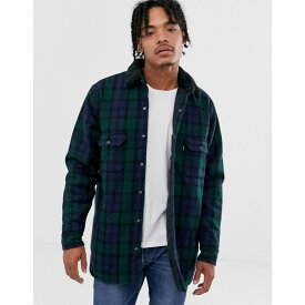 リーバイス Levi's メンズ ジャケット ワークジャケット アウター【borg lined wool check worker jacket in backhousia mineral black】Backhousia mineral b