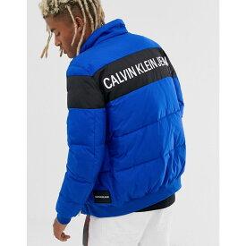 カルバンクライン Calvin Klein Jeans メンズ ダウン・中綿ジャケット アウター【puffer jacket in blue with chest stripe】Mazarine blu