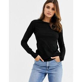 エイソス ASOS DESIGN レディース 長袖Tシャツ トップス【ultimate organic cotton long sleeved t-shirt with crew neck in black】Black