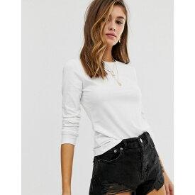 エイソス ASOS DESIGN レディース 長袖Tシャツ トップス【ultimate organic cotton long sleeve t-shirt with crew neck in white】White