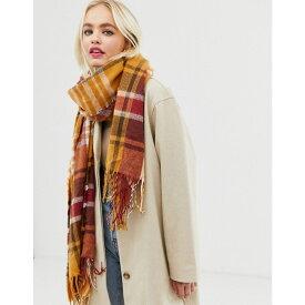 エイソス ASOS DESIGN レディース マフラー・スカーフ・ストール 【long tobacco check scarf with tassels】Brown