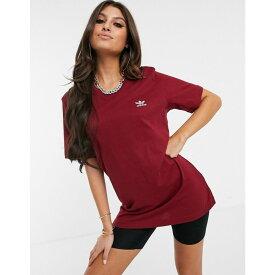 アディダス adidas Originals レディース Tシャツ トップス【essential mini logo t-shirt in burgundy】Red