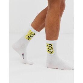 ヒューゴ ボス HUGO メンズ ソックス インナー・下着【destructed logo socks in white】White