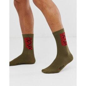 ヒューゴ ボス HUGO メンズ ソックス インナー・下着【destructed logo socks in khaki】Khaki