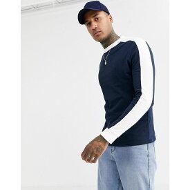 エイソス ASOS DESIGN メンズ 長袖Tシャツ トップス【organic long sleeve t-shirt with contrast shoulder panel in navy】Navy