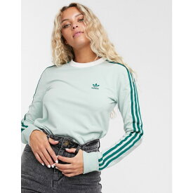 アディダス adidas Originals レディース 長袖Tシャツ トップス【adicolor three stripe long sleeve t-shirt in mint green】Green