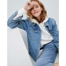 エイソス ASOS DESIGN レディース ジャケット Gジャン アウター【denim girlfriend jacket in stonewash blue】Blue